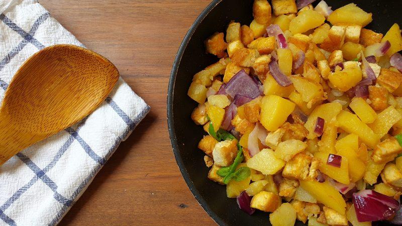 receta patatas con tofu